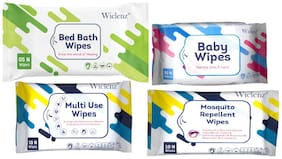 WiclenzWiclenz Baby Wipes Travel Pack Combo (1 X Set Of 30 Wipes|Bed Bath Wipes Xl  Set Of 5 Wipes|Antibacterial Multi Use Wipes Set Of 10 Wipes|Mosquito Repellent Wipes  Set Of 10 Wipes)