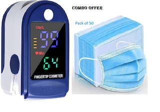 GEN-Z Wide Display with 4 LED  Finger Tip Oximeter with battery and 50 Nose Pin Surgical Mask Value Combo (Pack of 2)