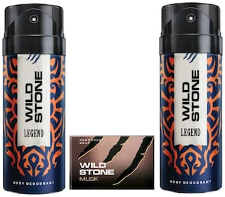 Wild Stone 2 Legend Deodorant(150ml each) and Musk Soap(75gms each) Pack of 3