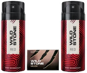 Wild Stone 2 Red Deodorants (150 ml each) and Musk Soap (125 g) For Men  Pack of 3