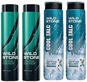 Wild Stone 2 Hydra Energy and 2 Active Silver Cool Talcum For Men;Pack of 4 (100 g each)