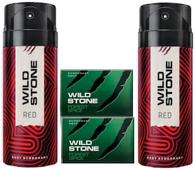 Wild Stone 2 Red Deodorant(150ml each) and 2 Forest Spice Soap(75gms each) Pack of 4