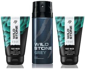 Wild Stone 2 Edge Facewash and Grey Deodorant (Pack of 3)