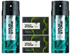 Wild Stone 2 Edge Deodorant(150ml each) and 2 Forest Spice Soap(125gms each) Pack of 4