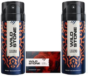 Wild Stone 2 Legend Deodorant(150ml each) and Ultra Sensual Soap(125gms each) Pack of 3