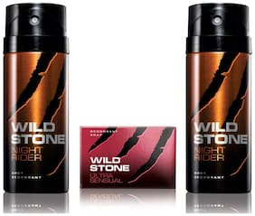 Wild Stone 2 Night Rider Deodorant(150ml each) and Ultra Sensual Soap(75g each) Pack of 3