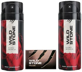 Wild Stone 2 Ultra Sensual Deodorant(150ml each) and Musk Soap(75gms each) Pack of 3