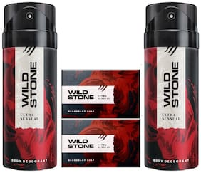 Wild Stone 2 Ultra Sensual Deodorant(150ml ) and 2 Forest Spice Soap(125gms ) Pack of 4