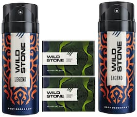 Wild Stone 2 Legend Deodorant(150ml ) and 2 Forest Spice Soap(125g ) Pack of 4