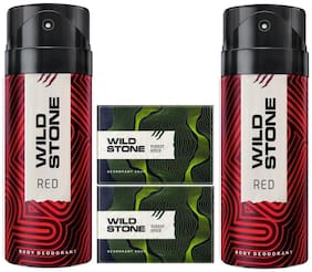 Wild Stone 2 Red Deodorant(150ml ) and 2 Forest Spice Soap(125g ) Pack of 4