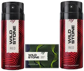 Wild Stone 2 Red Deodorants (150 ml ) and Forest Spice Soap (125 g) For Men Pack of 3
