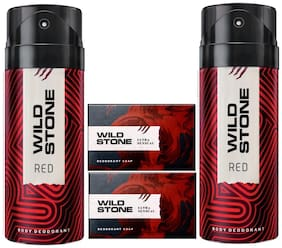 Wild Stone 2 Red Deodorant(150ml ) and Ultra Sensual Soap(125g ) Pack of 3