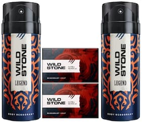 Wild Stone 2 Legend Deodorant(150ml ) and 2 Ultra Sensual Soap(125gms ) Pack of 4
