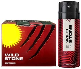 Wild Stone 3+1 soaps (75 each) and Red Deodorant (150 ml) for men - Pack of 2