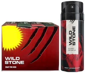 Wild Stone 3+1 soaps (125 g each) and Ultra Sensual Deodorant (150 ml) for men - Pack of 2