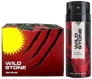 Wild Stone 3+1 soaps (75 each) and Ultra Sensual Deodorant (150 ml) for men - Pack of 2