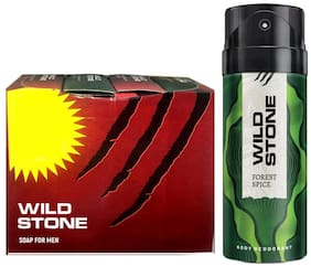 Wild Stone 3+1 soaps (75 each) and Forest Spice Deodorant (150 ml) for men - Pack of 2