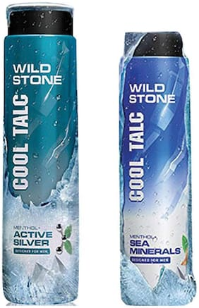 Wild Stone Active Siler Cool Talcum(300g) and Sea Minerals Cool Talcum (100g) For Men;Pack of 2