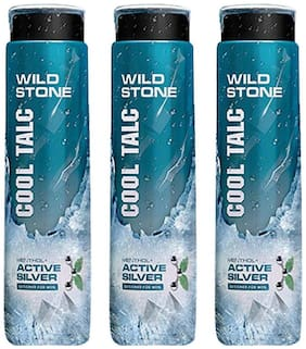 Wild Stone Active Silver Cool Talcum For Men;Pack of 3 (300g each)