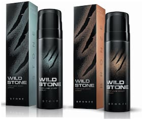 Wild Stone Bronze 120ml And Stone Perfume Body Spray For Men 120ml (Pack of 2)