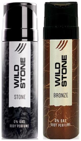 Wild Stone Bronze 120ml And Stone Perfume Body Spray For Men 120ml (Pack of 2)