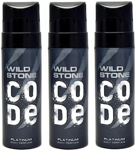 Wild Stone Code Platinum Perfume Body Spray Pack of 3 Combo (120 ml Each)