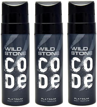 Wild Stone Code Platinum Perfume Body Spray Pack of 3 Combo (120Ml Each)