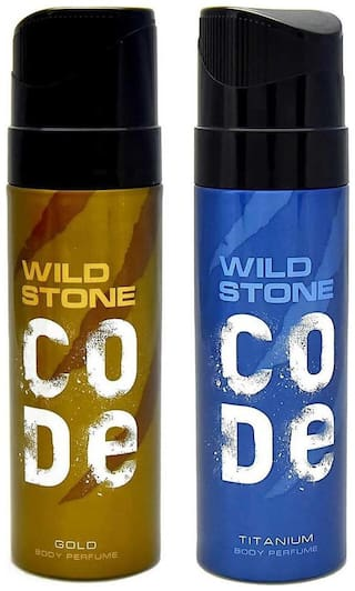Wild Stone Code Titanium And Code Gold Perfume Body Spray Pack of 2 Combo (120Ml Each)