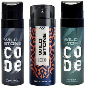 Wild Stone Code Platinum, Code Steel (120 ml each) and Legend Deodorant for Men (150 ml ), Pack of 3