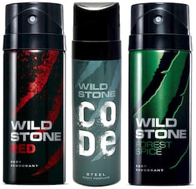 Wild Stone Code Steel (120 ml), Red and Forest Spice Deodorant for Men (150 ml each), Pack of 3