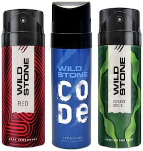 Wild Stone Code Titanium, Forest Spice and Red Deodorant for Men, Pack of 3 (150 ml each)