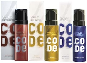 Wild Stone Code Copper  Gold & Titanium Body Perfume - 120 ml Each