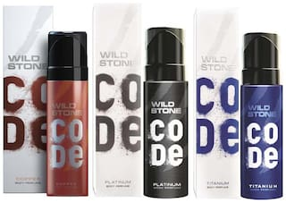 Wild Stone Code Copper  Platinum & Titanium Body Perfume - 120 ml Each