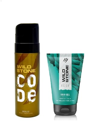 Wild Stone Code Gold Body Perfume (120 ml) and Edge Hairgel (50 g) For Men  Pack of 2