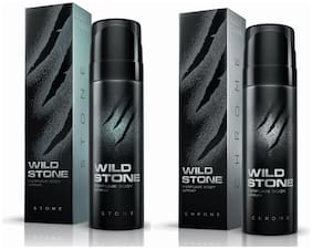 Wild Stone Chrome 120ml And Stone Perfume Body Spray For Men 120ml (Pack of 2)