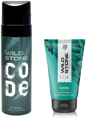 Wild Stone Code Steel Body Perfume (120 ml) and Edge Hairgel (50 g) For Men  Pack of 2
