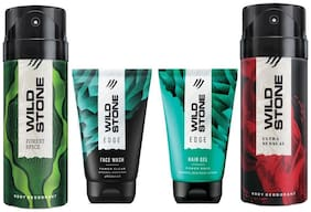 Wild Stone Edge Facewash;Edge Hairgel;Forest Spice and Ultra Sensual Deodorant (Pack of 4)