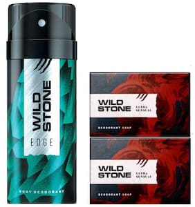 Wild Stone Edge Deodorant(150ml each) and 2 Ultra Sensual Soap(125gms each) Pack of 3