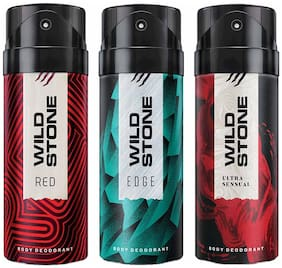 Wild Stone Edge Red And Ultra Sensual Deodorant For Men 150 Ml (Pack Of 3)