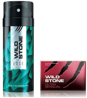 Wild Stone Edge Deodorant(150ml each) and Ultra Sensual Soap(75gms each) Pack of 2