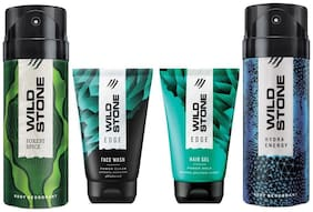 Wild Stone Edge Facewash;Edge Hairgel;Forest Spice and Hydra Energy Deodorant (Pack of 4)