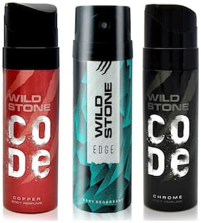 Wild Stone Edge (150 ml), Copper and Chrome (120 ml each) Deodorant and Perfume Body Spray For Men,  (Pack of 3)