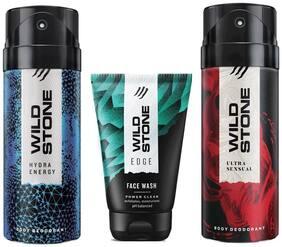 Wild Stone Edge Facewash;Hydra Energy and Ultra Sensual Deodorant (Pack of 3)