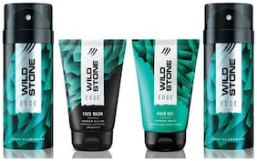 Wild Stone Edge Facewash;Edge Hairgel and 2 Edge Deodorant (Pack of 4)