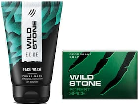 Wild Stone Edge Face Wash (100 ml) and Forest Spice Soap (75g ) For Men;Pack of 2