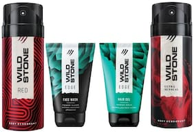 Wild Stone Edge Facewash;Edge Hairgel;Red and Ultra Sensual Deodorant (Pack of 4)