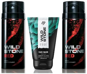 Wild Stone Edge Facewash and 2 Red Deodorant (Pack of 3)