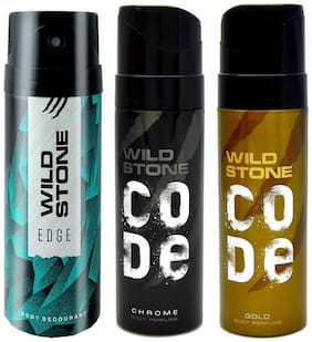 Wild Stone Edge (150 ml), Chrome and Gold (120 ml each), Deodorant and Perfume Body Spray For Men,  (Pack of 3)