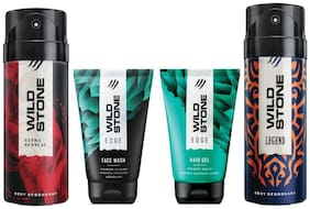 Wild Stone Edge Facewash;Edge Hairgel;Ultra Sensual and Legend Deodorant (Pack of 4)