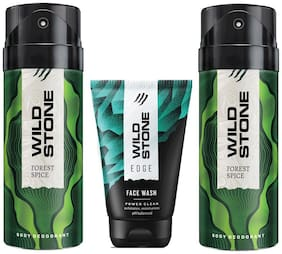 Wild Stone Edge Facewash and 2 Forest Spice Deodorant (Pack of 3)